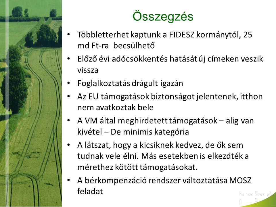 Összegzés Többletterhet kaptunk a FIDESZ kormánytól, 25 md Ft-ra becsülhető Előző évi adócsökkentés hatását új címeken veszik vissza Foglalkoztatás dr