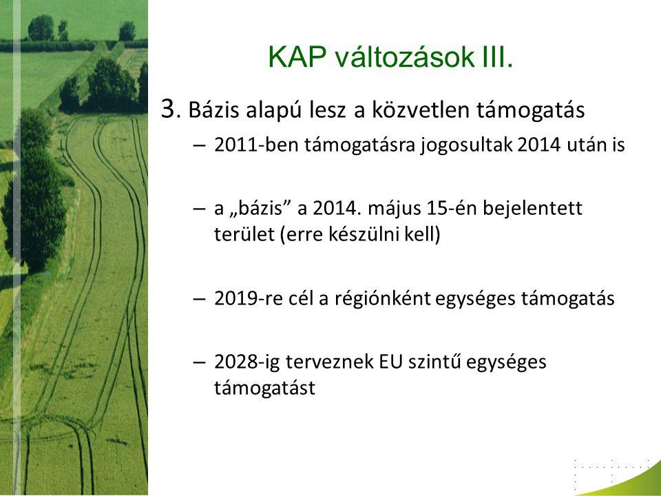 """KAP változások III. 3. Bázis alapú lesz a közvetlen támogatás – 2011-ben támogatásra jogosultak 2014 után is – a """"bázis"""" a 2014. május 15-én bejelente"""
