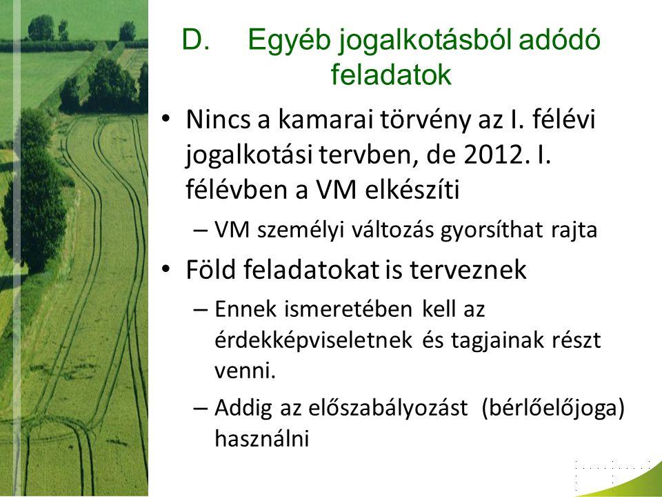 D.Egyéb jogalkotásból adódó feladatok Nincs a kamarai törvény az I. félévi jogalkotási tervben, de 2012. I. félévben a VM elkészíti – VM személyi vált