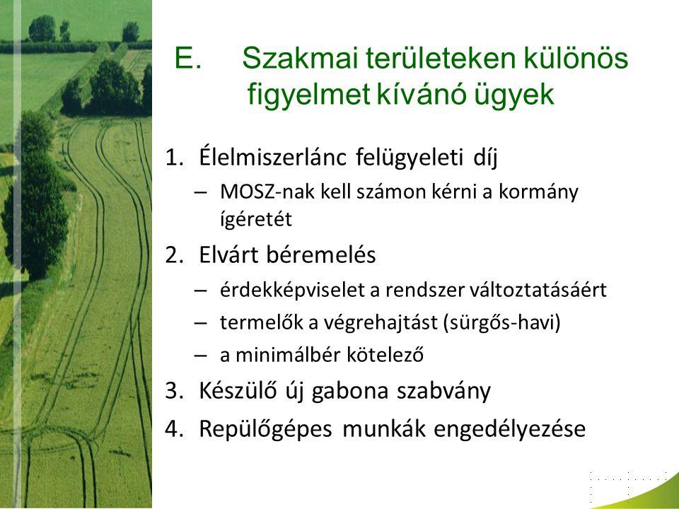 E.Szakmai területeken különös figyelmet kívánó ügyek 1.Élelmiszerlánc felügyeleti díj – MOSZ-nak kell számon kérni a kormány ígéretét 2.Elvárt béremel