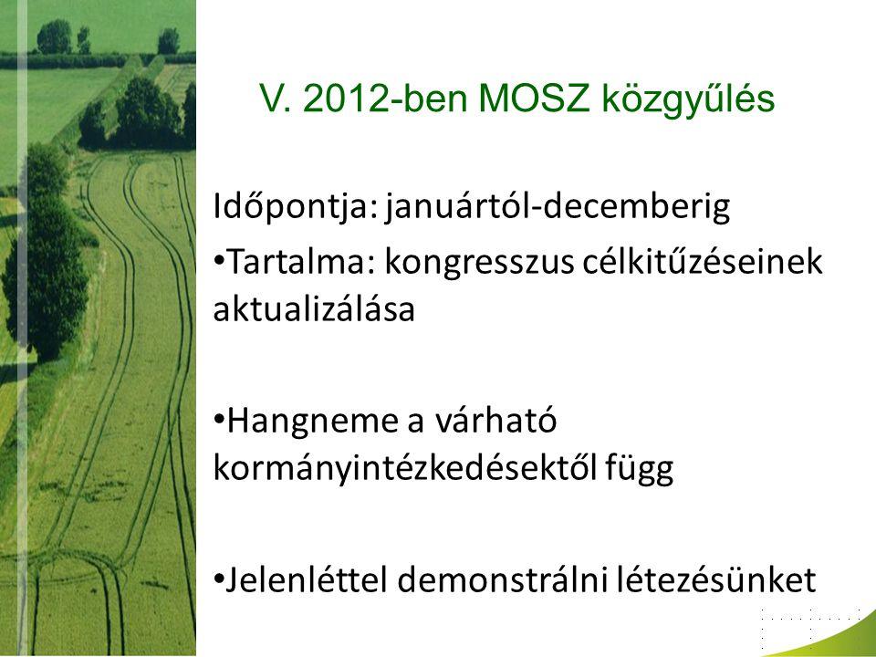 V. 2012-ben MOSZ közgyűlés Időpontja: januártól-decemberig Tartalma: kongresszus célkitűzéseinek aktualizálása Hangneme a várható kormányintézkedésekt