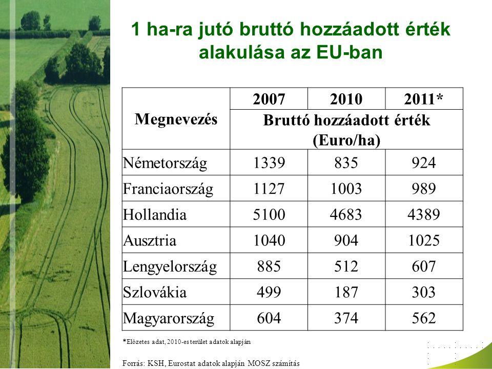 1 ha-ra jutó bruttó hozzáadott érték alakulása az EU-ban Megnevezés 200720102011* Bruttó hozzáadott érték (Euro/ha) Németország1339835924 Franciaorszá