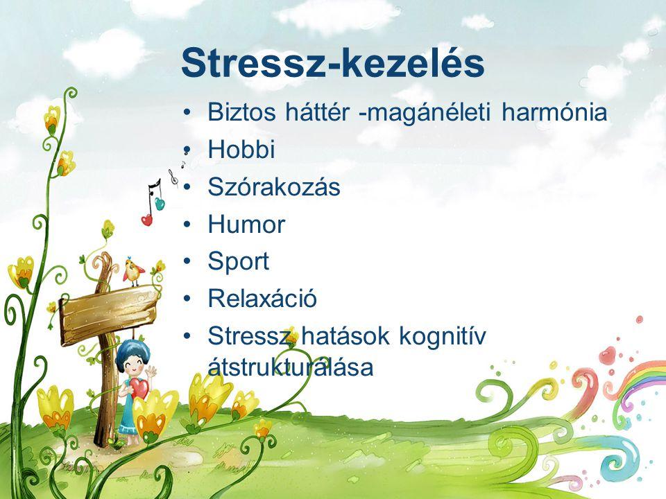 Stressz-kezelés Biztos háttér -magánéleti harmónia Hobbi Szórakozás Humor Sport Relaxáció Stressz hatások kognitív átstrukturálása