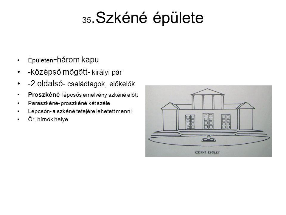 35.Szkéné épülete Épületen - három kapu -középső mögött- királyi pár -2 oldalsó- családtagok, előkelők Proszkéné - lépcsős emelvény szkéné előtt Paras