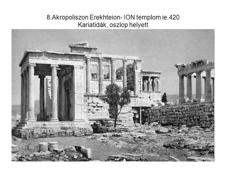 19.Görög szobrászat klasszikus kora Belvederei Apollon, ie.350 Antik szépségeszmény, de egyiptomi hagyomány nyomai: minden testrész a legjellemzőbb nézetben van.