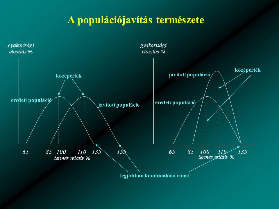 15513585651101008513565 javított populáció eredeti populáció javított populáció eredeti populáció 100110 A populációjavítás természete középérték legjobban kombinálódó vonal termés relatív % gyakorisági eloszlás %
