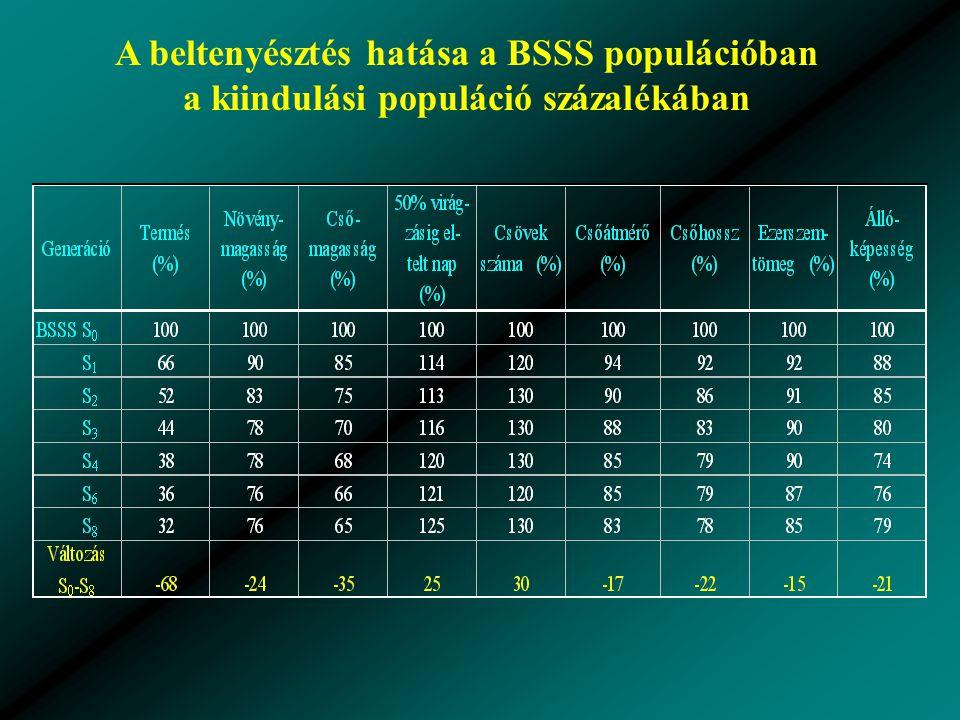 A beltenyésztés hatása a BSSS populációban a kiindulási populáció százalékában