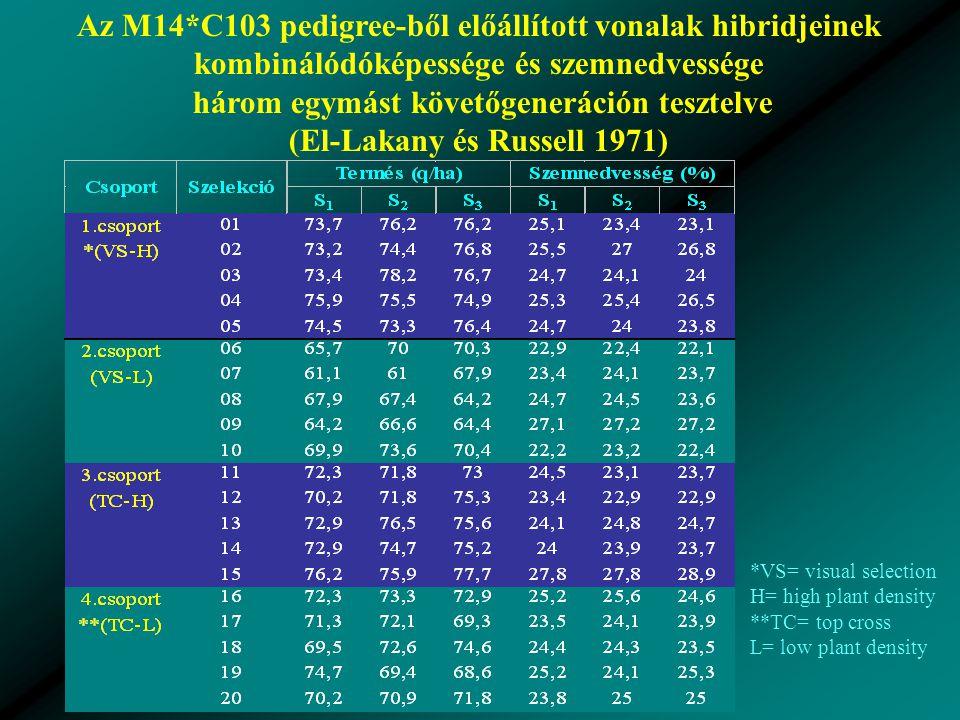 Az M14*C103 pedigree-ből előállított vonalak hibridjeinek kombinálódóképessége és szemnedvessége három egymást követőgeneráción tesztelve (El-Lakany és Russell 1971) *VS= visual selection H= high plant density **TC= top cross L= low plant density