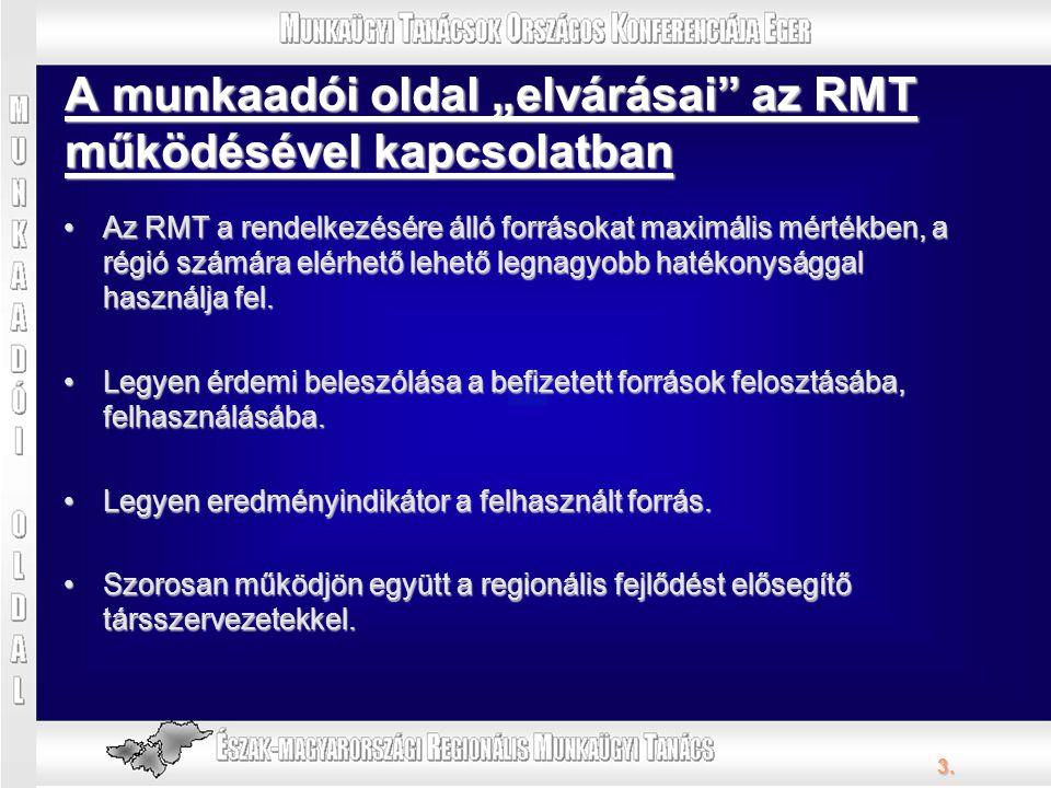 3. Az RMT a rendelkezésére álló forrásokat maximális mértékben, a régió számára elérhető lehető legnagyobb hatékonysággal használja fel.Az RMT a rende