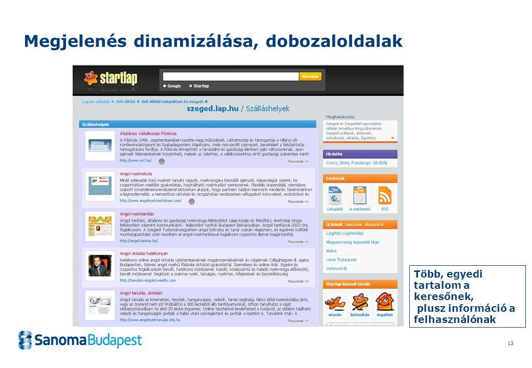 13 Megjelenés dinamizálása, dobozaloldalak Több, egyedi tartalom a keresőnek, plusz információ a felhasználónak