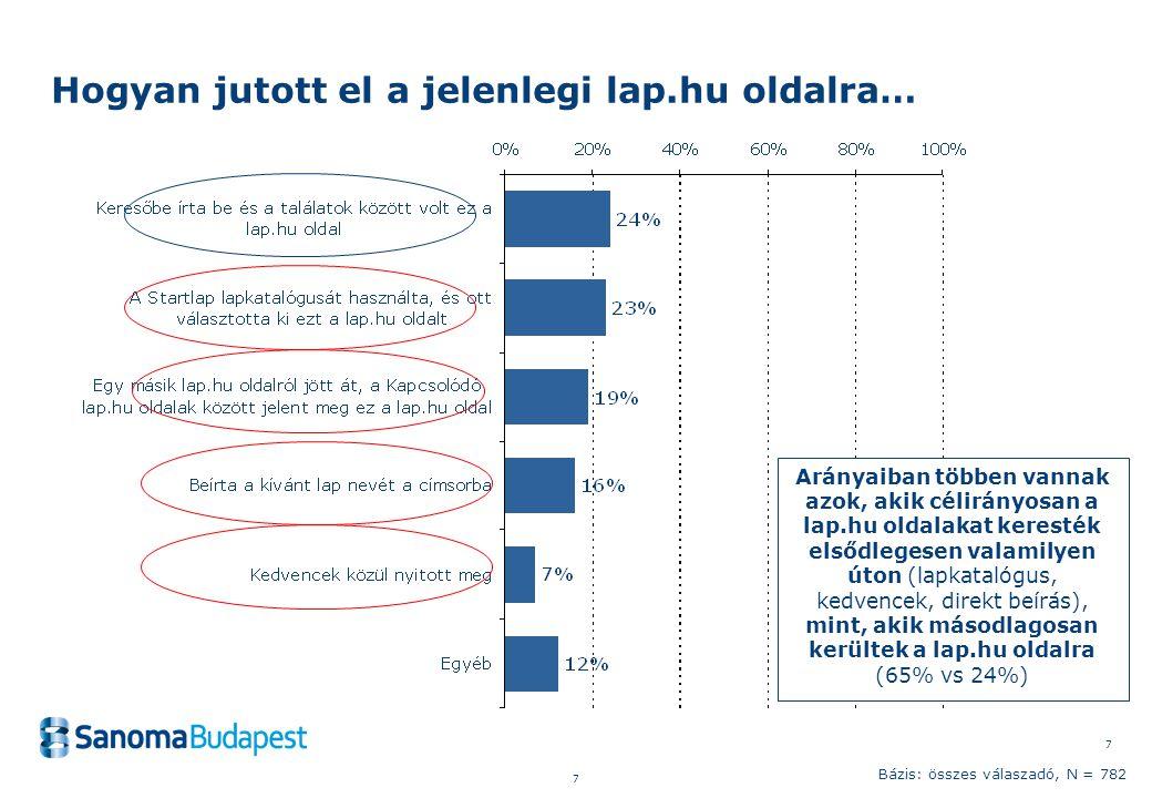 7 7 Hogyan jutott el a jelenlegi lap.hu oldalra… Bázis: összes válaszadó, N = 782 Arányaiban többen vannak azok, akik célirányosan a lap.hu oldalakat keresték elsődlegesen valamilyen úton (lapkatalógus, kedvencek, direkt beírás), mint, akik másodlagosan kerültek a lap.hu oldalra (65% vs 24%)