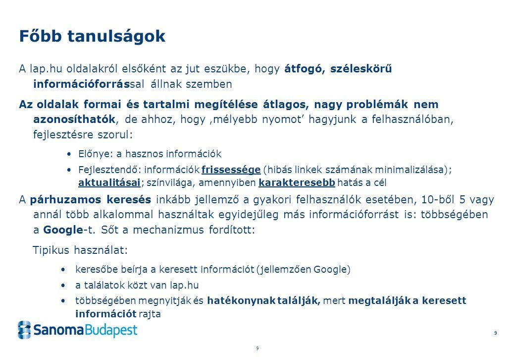 9 9 9 A lap.hu oldalakról elsőként az jut eszükbe, hogy átfogó, széleskörű információforrással állnak szemben Az oldalak formai és tartalmi megítélése