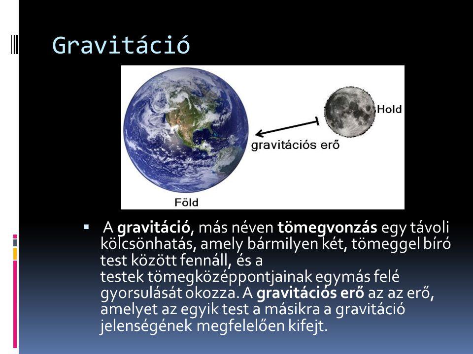 Gravitáció  A gravitáció, más néven tömegvonzás egy távoli kölcsönhatás, amely bármilyen két, tömeggel bíró test között fennáll, és a testek tömegközéppontjainak egymás felé gyorsulását okozza.