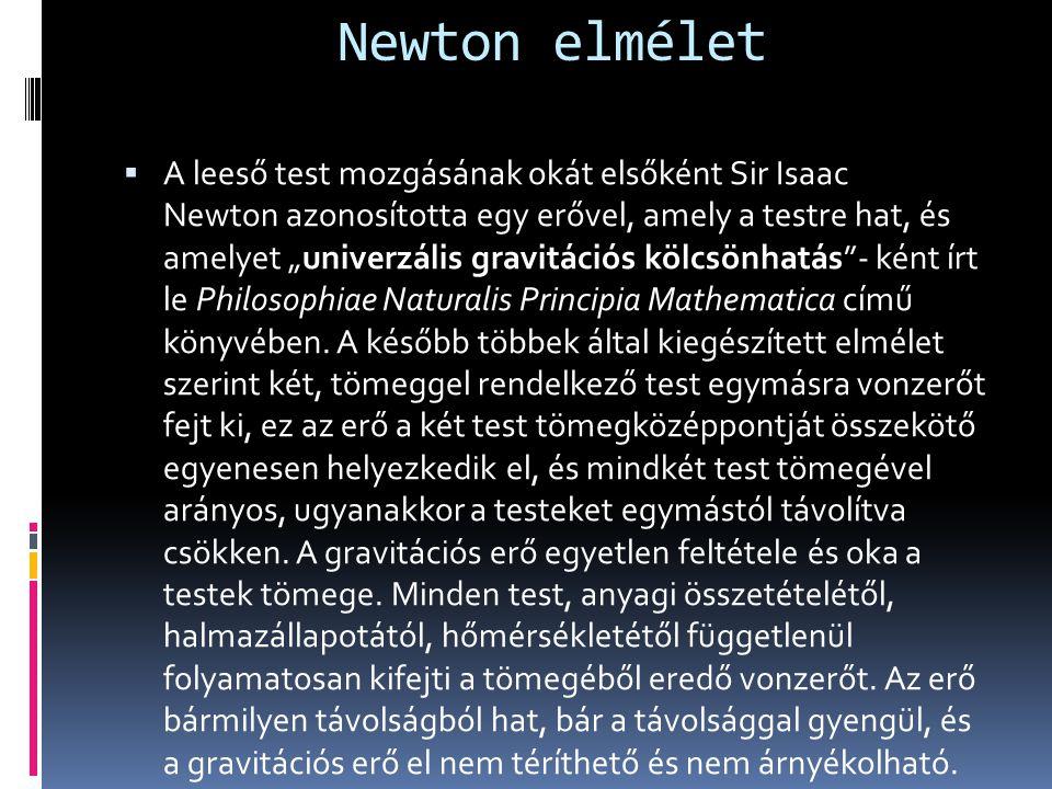 """Newton elmélet  A leeső test mozgásának okát elsőként Sir Isaac Newton azonosította egy erővel, amely a testre hat, és amelyet """"univerzális gravitáci"""