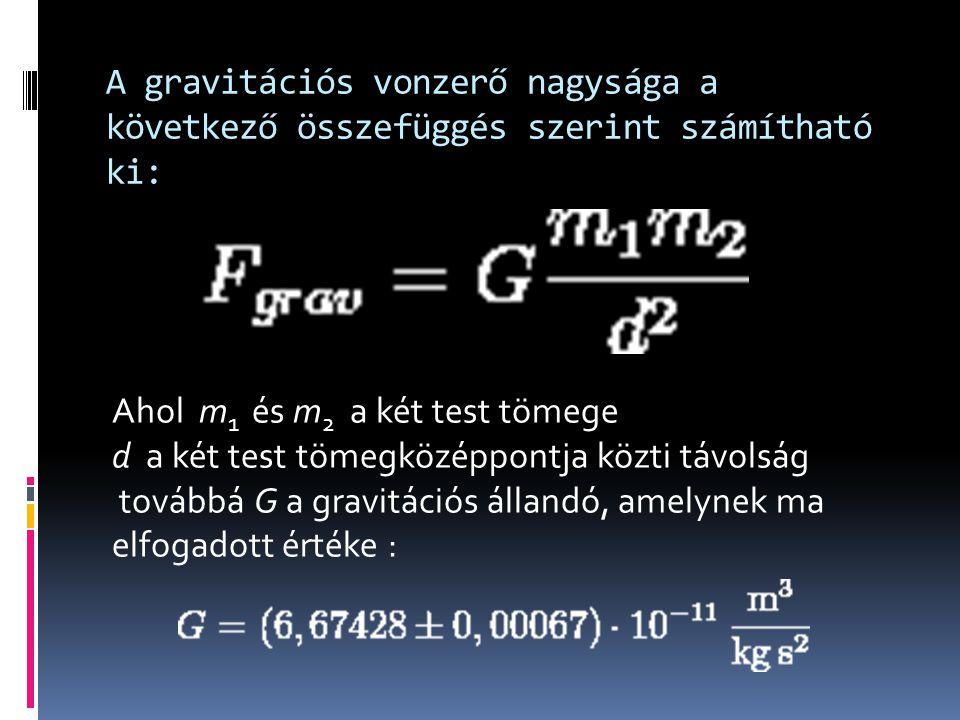 A gravitációs vonzerő nagysága a következő összefüggés szerint számítható ki: Ahol m 1 és m 2 a két test tömege d a két test tömegközéppontja közti távolság továbbá G a gravitációs állandó, amelynek ma elfogadott értéke :