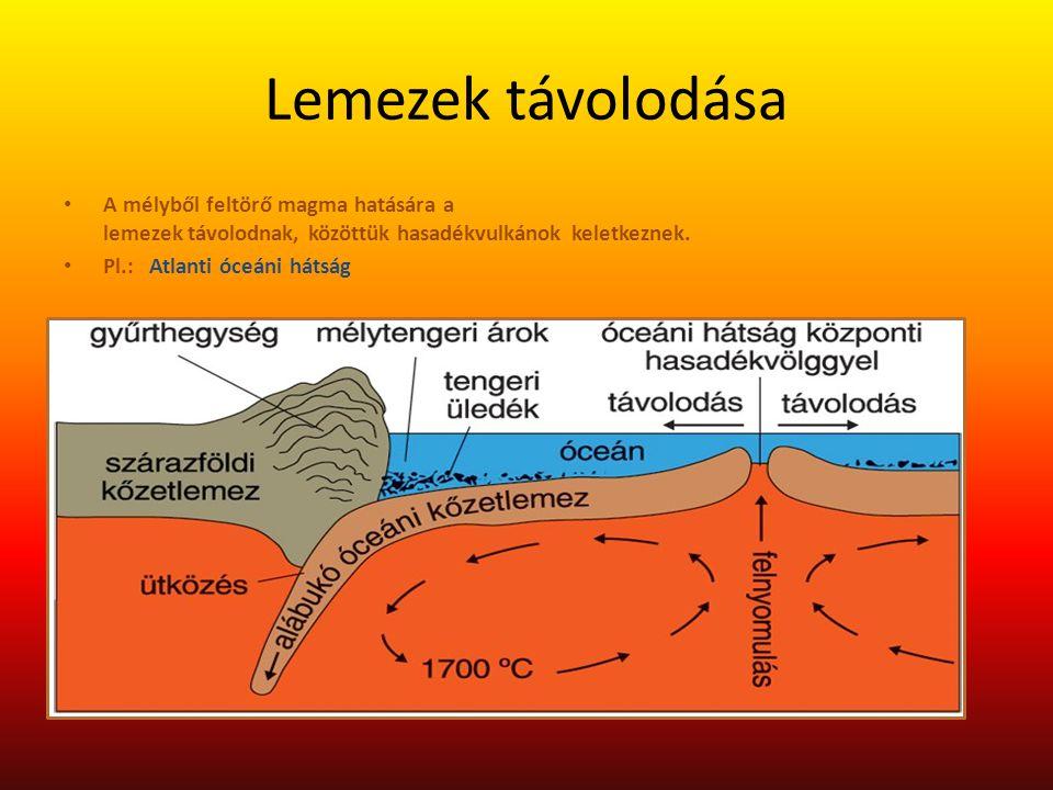 Lemezek távolodása A mélyből feltörő magma hatására a lemezek távolodnak, közöttük hasadékvulkánok keletkeznek. Pl.: Atlanti óceáni hátság