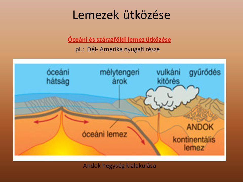 Lemezek ütközése Kontinentális –Kontinentális lemez ütközése - A lemezek kiszorították az óceánt, az üledékeket pedig felgyűrték pl.: Himalája kialakulása