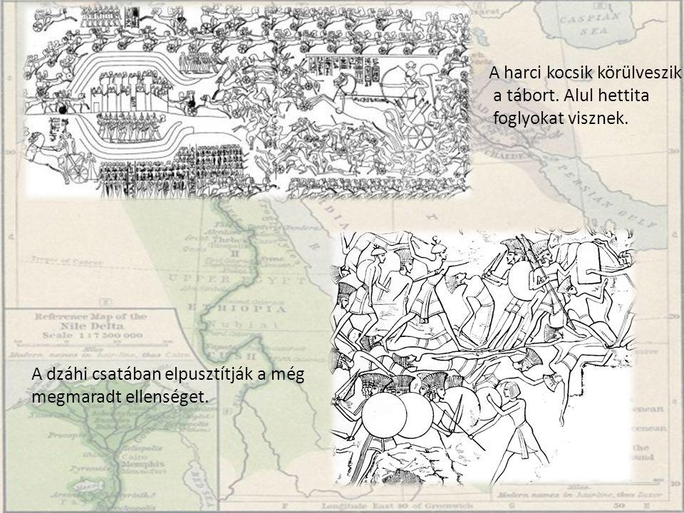 A harci kocsik körülveszik a tábort. Alul hettita foglyokat visznek. A dzáhi csatában elpusztítják a még megmaradt ellenséget.