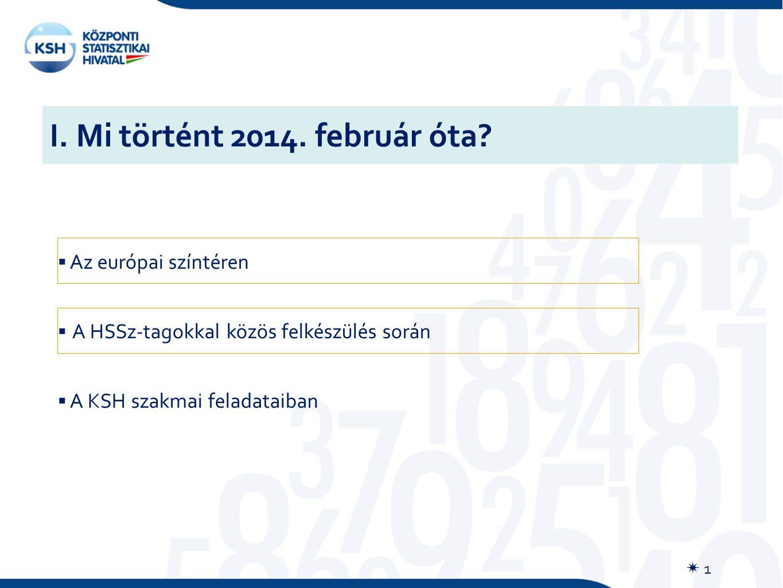 I. Mi történt 2014. február óta?  1  Az európai színtéren  A HSSz-tagokkal közös felkészülés során  A KSH szakmai feladataiban