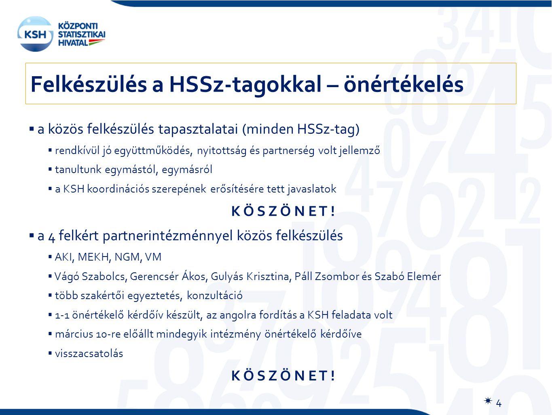 Felkészülés a HSSz-tagokkal – önértékelés  4  a közös felkészülés tapasztalatai (minden HSSz-tag)  rendkívül jó együttműködés, nyitottság és partnerség volt jellemző  tanultunk egymástól, egymásról  a KSH koordinációs szerepének erősítésére tett javaslatok K Ö S Z Ö N E T .