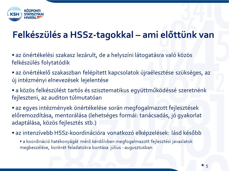 Felkészülés a HSSz-tagokkal – ami előttünk van  5  az önértékelési szakasz lezárult, de a helyszíni látogatásra való közös felkészülés folytatódik  az önértékelő szakaszban felépített kapcsolatok újraélesztése szükséges, az új intézményi elnevezések lejelentése  a közös felkészülést tartós és szisztematikus együttműködéssé szeretnénk fejleszteni, az auditon túlmutatóan  az egyes intézmények önértékelése során megfogalmazott fejlesztések előremozdítása, mentorálása (lehetséges formái: tanácsadás, jó gyakorlat adaptálása, közös fejlesztés stb.)  az intenzívebb HSSz-koordinációra vonatkozó elképzelések: lásd később  a koordináció hatékonyágát mérő kérdőívben megfogalmazott fejlesztési javaslatok megbeszélése, konkrét feladatokra bontása július - augusztusban