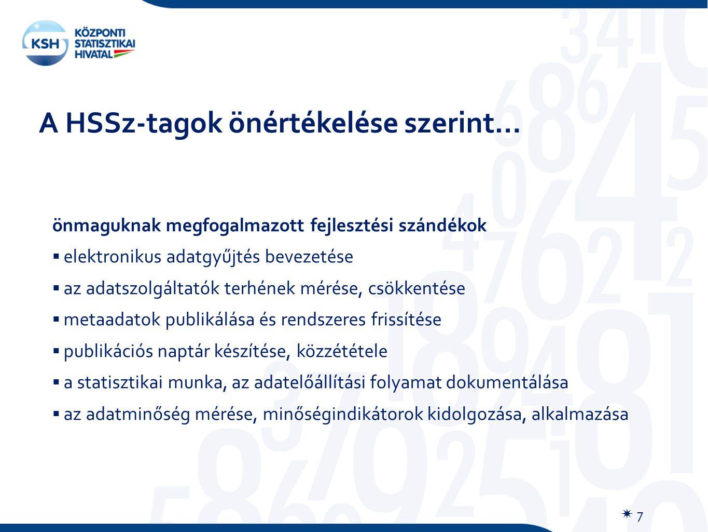 A HSSz-tagok önértékelése szerint…  7 önmaguknak megfogalmazott fejlesztési szándékok  elektronikus adatgyűjtés bevezetése  az adatszolgáltatók terhének mérése, csökkentése  metaadatok publikálása és rendszeres frissítése  publikációs naptár készítése, közzététele  a statisztikai munka, az adatelőállítási folyamat dokumentálása  az adatminőség mérése, minőségindikátorok kidolgozása, alkalmazása