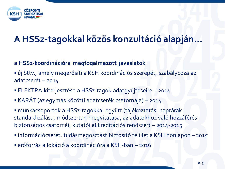A HSSz-tagokkal közös konzultáció alapján…  8 a HSSz-koordinációra megfogalmazott javaslatok  új Sttv., amely megerősíti a KSH koordinációs szerepét, szabályozza az adatcserét – 2014  ELEKTRA kiterjesztése a HSSz-tagok adatgyűjtéseire – 2014  KARÁT (az egymás közötti adatcserék csatornája) – 2014  munkacsoportok a HSSz-tagokkal együtt (tájékoztatási naptárak standardizálása, módszertan megvitatása, az adatokhoz való hozzáférés biztonságos csatornái, kutatói akkreditációs rendszer) – 2014-2015  információcserét, tudásmegosztást biztosító felület a KSH honlapon – 2015  erőforrás allokáció a koordinációra a KSH-ban – 2016