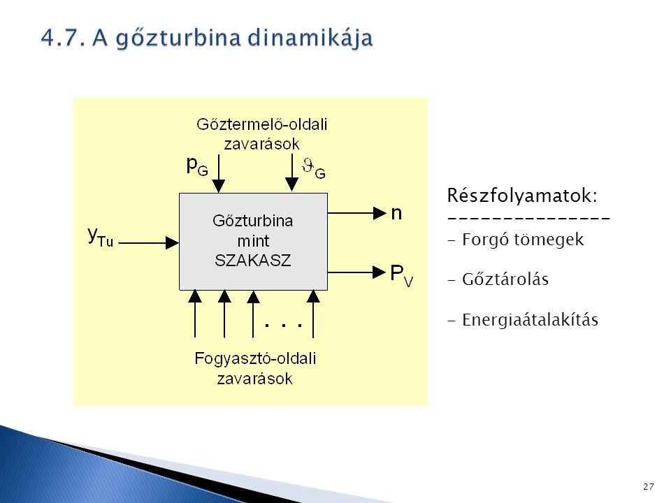Részfolyamatok: --------------- - Forgó tömegek - Gőztárolás - Energiaátalakítás 27