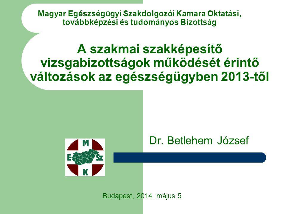 Magyar Egészségügyi Szakdolgozói Kamara Oktatási, továbbképzési és tudományos Bizottság Dr. Betlehem József Budapest, 2014. május 5. A szakmai szakkép