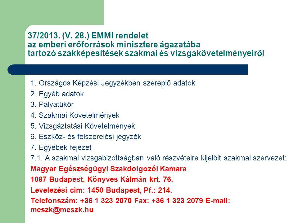 37/2013. (V. 28.) EMMI rendelet az emberi erőforrások minisztere ágazatába tartozó szakképesítések szakmai és vizsgakövetelményeiről 1. Országos Képzé