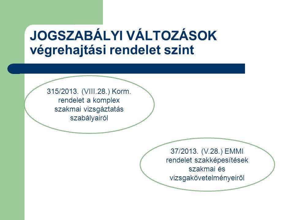 37/2013. (V.28.) EMMI rendelet szakképesítések szakmai és vizsgakövetelményeiről 315/2013. (VIII.28.) Korm. rendelet a komplex szakmai vizsgáztatás sz