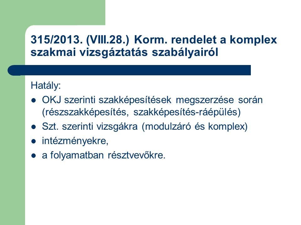 315/2013. (VIII.28.) Korm. rendelet a komplex szakmai vizsgáztatás szabályairól Hatály: OKJ szerinti szakképesítések megszerzése során (részszakképesí
