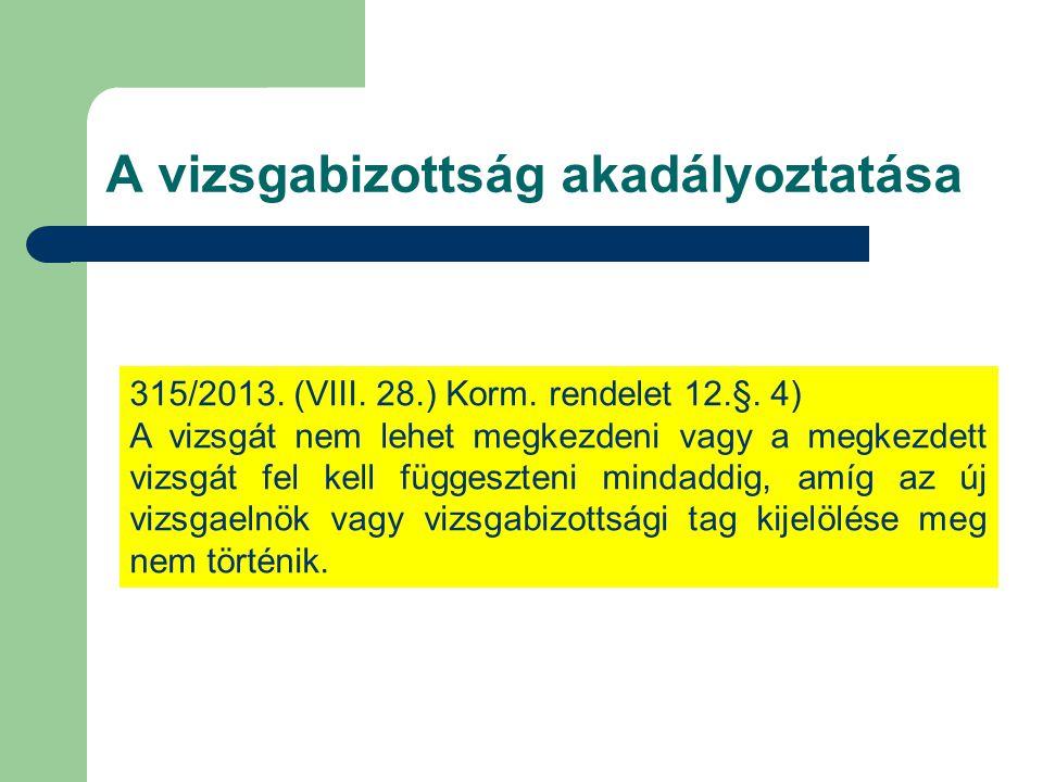 A vizsgabizottság akadályoztatása 315/2013. (VIII. 28.) Korm. rendelet 12.§. 4) A vizsgát nem lehet megkezdeni vagy a megkezdett vizsgát fel kell függ