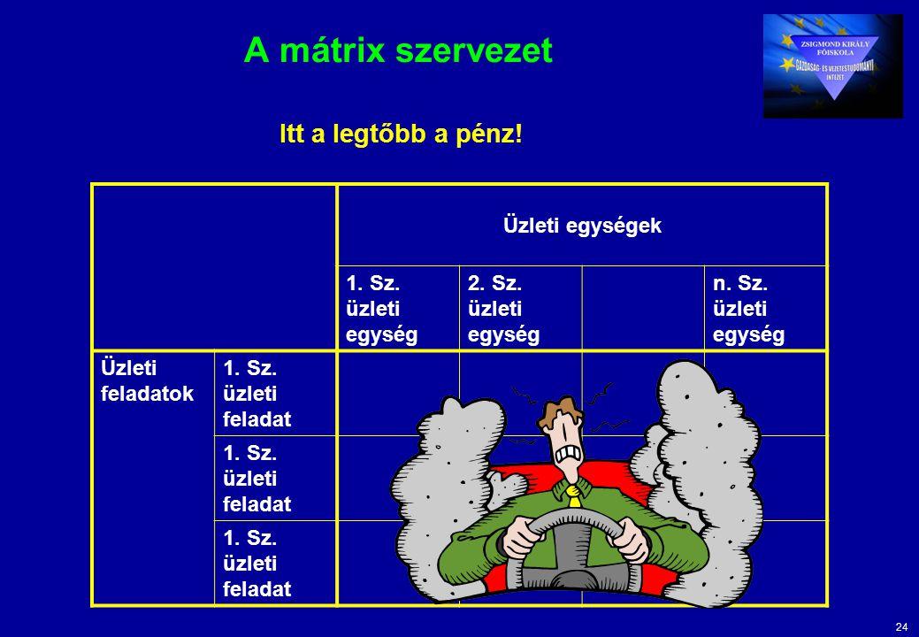 24 A mátrix szervezet Üzleti egységek 1. Sz. üzleti egység 2.