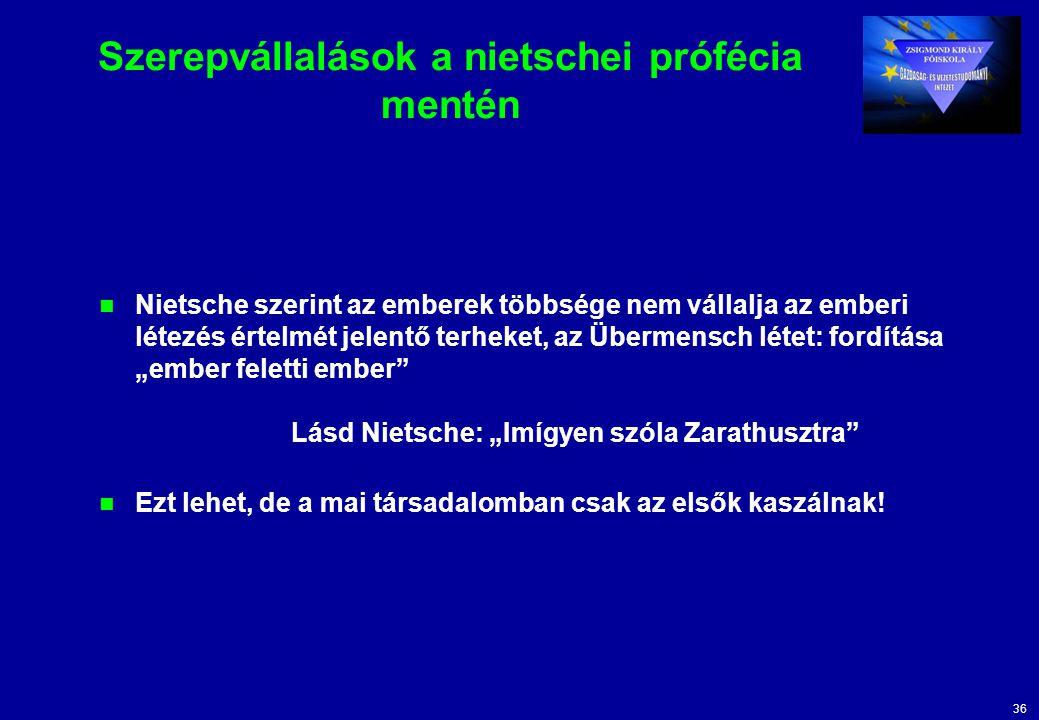 """36 Szerepvállalások a nietschei prófécia mentén Nietsche szerint az emberek többsége nem vállalja az emberi létezés értelmét jelentő terheket, az Übermensch létet: fordítása """"ember feletti ember Lásd Nietsche: """"Imígyen szóla Zarathusztra Ezt lehet, de a mai társadalomban csak az elsők kaszálnak!"""