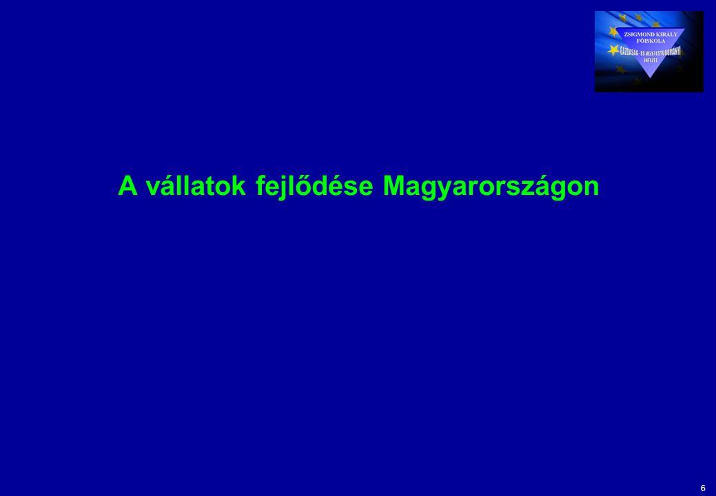 6 A vállatok fejlődése Magyarországon