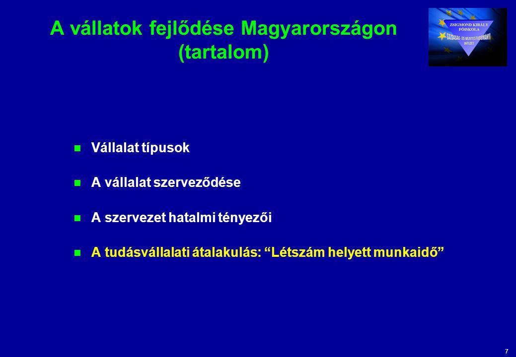 7 A vállatok fejlődése Magyarországon (tartalom) Vállalat típusok A vállalat szerveződése A szervezet hatalmi tényezői A tudásvállalati átalakulás: Létszám helyett munkaidő