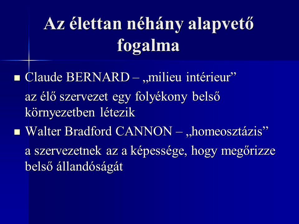 """Az élettan néhány alapvető fogalma Claude BERNARD – """"milieu intérieur"""" Claude BERNARD – """"milieu intérieur"""" az élő szervezet egy folyékony belső környe"""