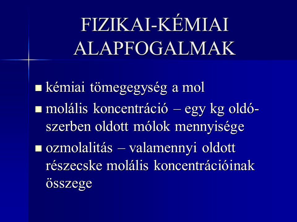 FIZIKAI-KÉMIAI ALAPFOGALMAK kémiai tömegegység a mol kémiai tömegegység a mol molális koncentráció – egy kg oldó- szerben oldott mólok mennyisége molá