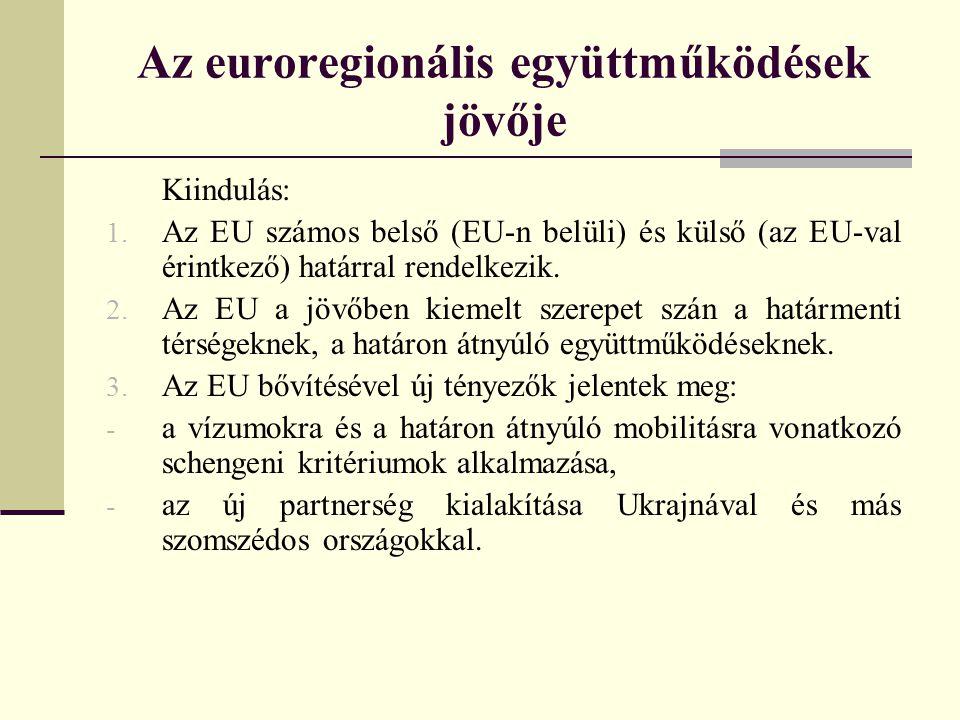 Az euroregionális együttműködések jövője Kiindulás: 1.