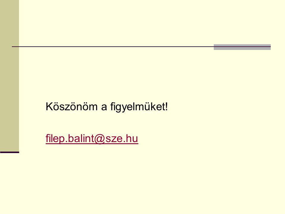 Köszönöm a figyelmüket! filep.balint@sze.hu
