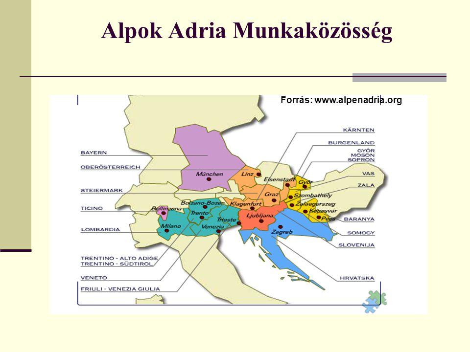 A szervezet létrehozásának céljai: Alpok-Adria Munkaközösség Az együttműködés keretei: közlekedési összeköttetések, kikötői forgalom, energiatermelés- és átvitel, mezőgazdaság, erdészet, vízgazdálkodás, idegenforgalom, környezetvédelem, tájgondozás, kultúr- és üdülőövezetek megtartása, tájrendezés, terület- és településfejlesztés, kulturális kapcsolatok, valamint a tudományos intézmények közötti kapcsolatok
