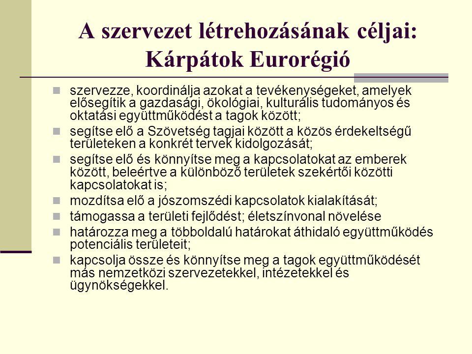 Az euroregionális együttműködések eddigi eredményei Kialakult a határmenti együttműködés szervezeti rendszere.