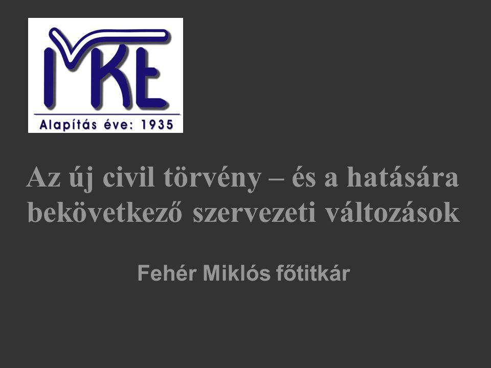 Az új civil törvény – és a hatására bekövetkező szervezeti változások Köszönöm a figyelmet Fehér Miklós főtitkár