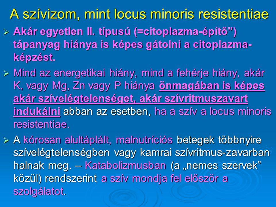 """A szívizom, mint locus minoris resistentiae  Akár egyetlen II. típusú (=citoplazma-építő"""") tápanyag hiánya is képes gátolni a citoplazma- képzést. """