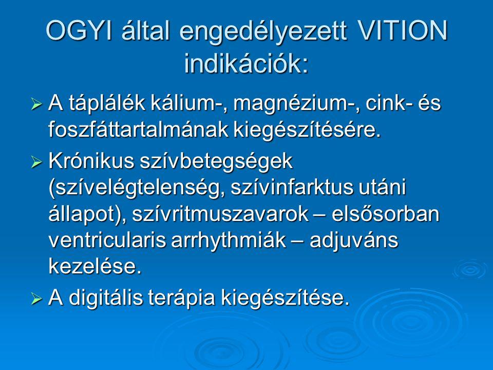 OGYI által engedélyezett VITION indikációk:  A táplálék kálium-, magnézium-, cink- és foszfáttartalmának kiegészítésére.  Krónikus szívbetegségek (s