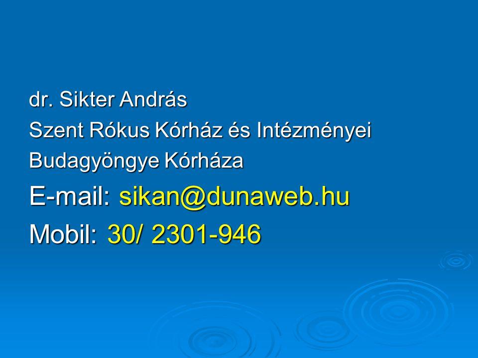 dr. Sikter András Szent Rókus Kórház és Intézményei Budagyöngye Kórháza E-mail: sikan@dunaweb.hu Mobil: 30/ 2301-946