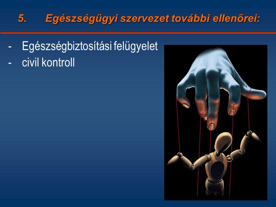 5.Egészségügyi szervezet további ellenőrei: -Egészségbiztosítási felügyelet -civil kontroll