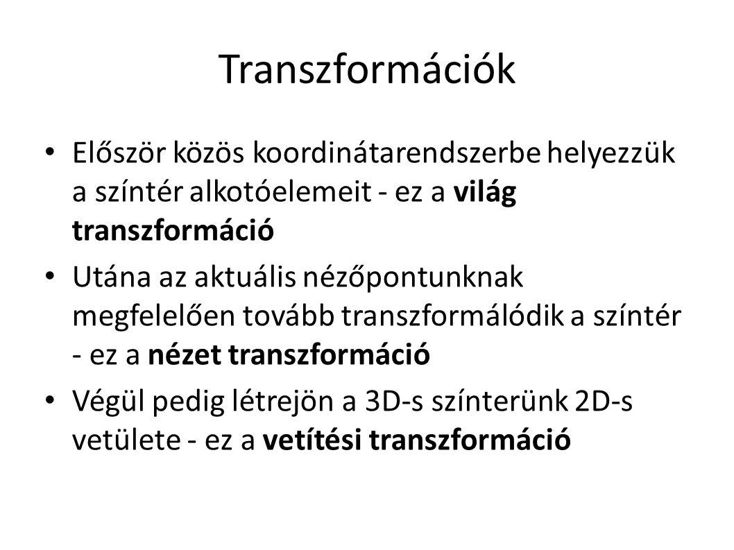 Transzformációk Először közös koordinátarendszerbe helyezzük a színtér alkotóelemeit - ez a világ transzformáció Utána az aktuális nézőpontunknak megfelelően tovább transzformálódik a színtér - ez a nézet transzformáció Végül pedig létrejön a 3D-s színterünk 2D-s vetülete - ez a vetítési transzformáció