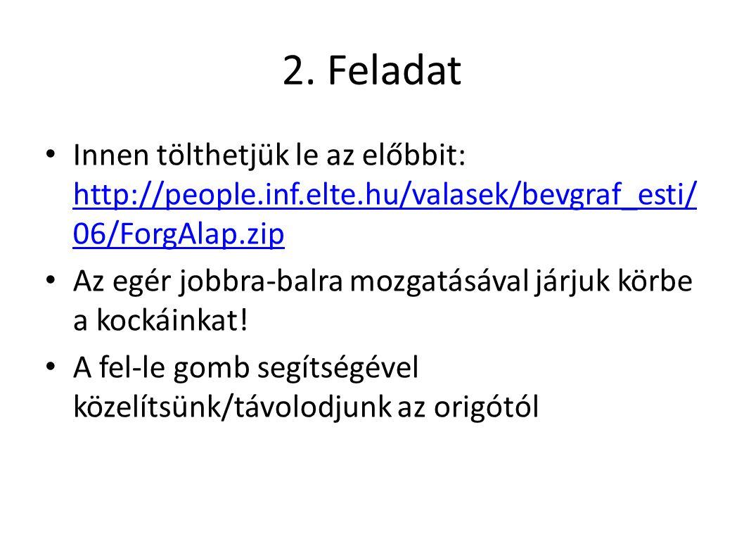 2. Feladat Innen tölthetjük le az előbbit: http://people.inf.elte.hu/valasek/bevgraf_esti/ 06/ForgAlap.zip http://people.inf.elte.hu/valasek/bevgraf_e